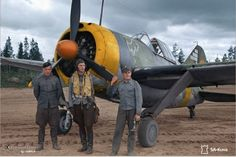 Suomi Brewster 239 with pilot and ground crew.