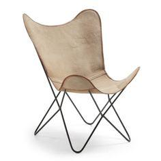 LaForma Flynn Vlinderstoel Canvas - Beige - afbeelding 1