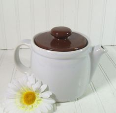 Vintage White Ceramic TeaPot with Brown Lid  McCoy by DivineOrders, $11.00