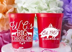 Bbq Big 30 Cups perfect for your summer birthday party! Stadium Cups - Custom designed and printed, personalized 16 oz. plastic stadium cups help you Celebrate Happy even before your event starts. Wedding Cups, Wedding Favors, Party Favors, Race Party, Derby Party, Birthday Bbq, Summer Birthday, Horse Racing Party, I Do Bbq