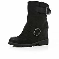 Black hidden wedge biker boots - ankle boots - shoes / boots - women (River Island)