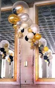 black white gold balloon decor - Google Search