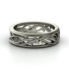 Men's 14K White Gold Ring | Vine Band | Gemvara