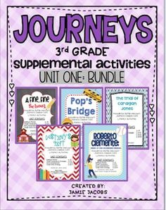 Bundle+and+save+a+few+dollars!+This+bundle+includes+supplemental+materials+for+lessons+1-5+in+unit+1+for+the+Journeys+reading+series+for+third+grade.+Bundle+Contents:+A+Fine,+Fine+School+(32+pages)The+Trial+of+Cardigan+Jones+(33+pages)Destiny's+Gift+(36+pages)Pop's+Bridge+(38+pages)Roberto+Clemente:+Pride+of+the+Pittsburgh+Pirates+(38+pages)Please+visit+my+shop+and+click+on+the+individual+stories+to+view+the+specific+contents+of+each+lesson.