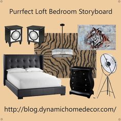 Purrfect Loft Bedroom Storyboard. Product info on our blog @ blog.dynamichomedcor.com  #bedroom #homedecor #interiordesign #cats #tiger #loft #modern #contemporary #bling #dynamicdecor
