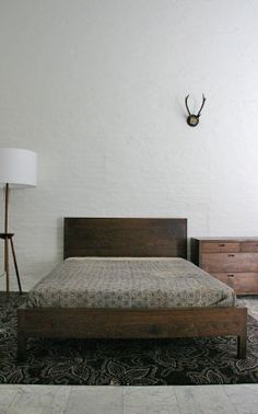 The Mills bed by BDDW. Love the clean lines of this American black walnut bed. Would fit into a pared down modern Scandinavian decor or the perfect wooded country retreat. #westedge #blogtourLA