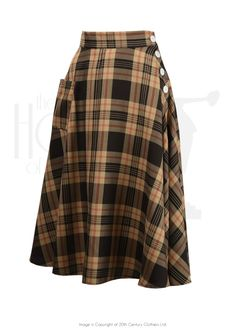 1940s Style 'Whirlaway' Swing Skirt in authentic Brown Check - perfect 40s swing skirt