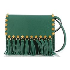 Valentino Fringed Bag (85.505 RUB) ❤ liked on Polyvore featuring bags, handbags, clutches, shoulder handbags, valentino handbag, fringe shoulder bag, green handbags and studded handbags