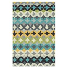 Hand-hooked rug with a geometric motif.    Product: RugConstruction Material: 100% PolyesterColor: G...