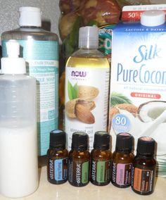 [Hair] ---- Anti-Dandruff Shampoo:: 1/4 c Coconut Milk,1/2 c Liquid Castile Soap, 1/4 c Vegetable Glycerin, 2 tsp coconut or almond or jojoba oil, 3-4 drops EACH OF: Melaleuca, Geranium, Ylang Ylang, Basil, Frankincense.