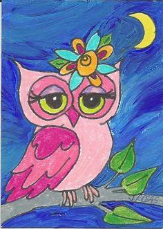 ACEO original acrylic folk pink owl moon painting by Jody #FolkArt