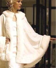 Cape de mariée hiver - cape étole de luxe en cachemire et fausse fourrure couleur blanc pour mariage mariée hiver long