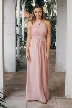 fit: standard sizing, fitted bust, relaxed skirt, fully lined, medium weight fabric, pleating detailing, padded bust, halter neck, open back, invisible back zipper colour:blush fabric: 100% polyester length: approx. 112cm from waist to hemline  our model is 171cm tall and is pictured in a size 8/S  Same blush colour tone as thezinnia one shoulder dress,Blossom dress,Camelliadress, Amaryllis Dress,Rose maxi dress,Tulip DressandDahlia Dress