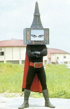 """japanese monster """"Fear me!"""" The dreaded Vacuum-tube Radio-Tower Man! Will do First Communion parties and Bar Mitzvahs Japanese Monster, Arte Horror, Weird And Wonderful, Retro Futurism, Power Rangers, Godzilla, Science Fiction, Sci Fi, Character Design"""