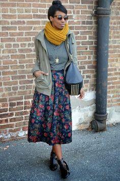 Scarf, sunglasses, skirt. Floral Byline