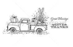 """Created by Angie Blom & Lisa Arana. This kit contains 3 stamps.  Truck with pumpkins and fall foliage measures approximately 2.5"""" x 5.75"""".  """"Give thanks"""" sentiment measures approximately .5"""" x 1.75"""".  """"Great Blessings"""" sentiment measures approximately .5"""" x 1.75"""".  All Unity Stamps are pre-cut, mounted on cling foam and ready to use right out of the package – you can mount our stamps on any acrylic block.    Unity is known for its HIGH QUALITY red rubber stamp – to be used fo..."""
