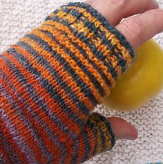 This is a fun pattern for using up leftover self-striping sock yarn. The garter ridges add a little texture while enhancing the striping pattern.