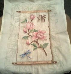 Dragonfly Cherry Blossom Scroll Finished by DebbiesPaintNstitch, $14.00