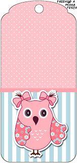 Corujinha Rosa - Kit Completo com molduras para convites, rótulos para guloseimas, lembrancinhas e imagens!