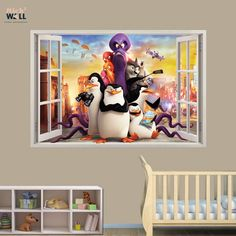 Kids bedroom 3d wall sticker vinyl decal window view Pinguins of Madagascar from stick2wall.com