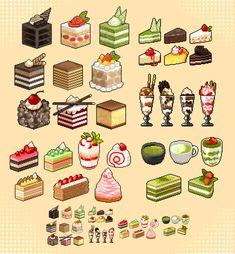 Pixel Art Food, Anime Pixel Art, Pixel Art Games, Cute Food Art, Cute Art, Kawaii Drawings, Cute Drawings, Pixel Drawing, Pix Art