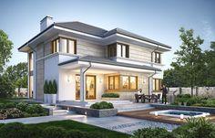 Ривьера 5 Светлый двухэтажный коттедж с большим гаражом и террасой S8-240-2 Modern House Plans, House Floor Plans, House Outside Design, House Design, Custom Home Builders, Custom Homes, Modern Architecture House, Architecture Design, Luxury Modern Homes