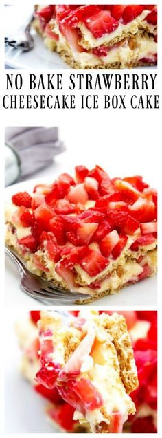 """NO BAKE STRAWBERRY CHEESECAKE ICE BOX CAKE – a deliciously simple layered cake made with graham crackers, a creamy vanilla """"cheesecake"""" layer and fresh strawberries. Whether it be spring or summer…More Strawberry Desserts, Strawberry Cheesecake, Cheesecake Recipes, Cupcake Recipes, Baking Recipes, Dessert Recipes, Strawberry Filling, Cheesecake Cookies, Easter Recipes"""
