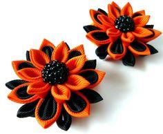 HALLOWEEN Kanzashi fabric flowers Set of 2 ponytails  by JuLVa, $10.00