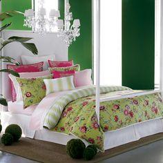 Comforter Set (Tommy Hilfiger Rooftop Terrace) Green/Pink - for guest room