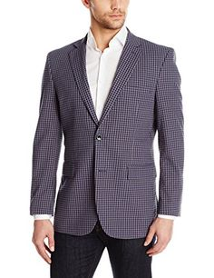 Perry Ellis Men's Grey and Navy Gingham Seersucker Sport Coat
