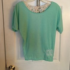 Tortuous and lace shirt This  turquoise shirt had a lace design on the front on lower right side second pic and the back is all lace. Size small Tops Tees - Short Sleeve