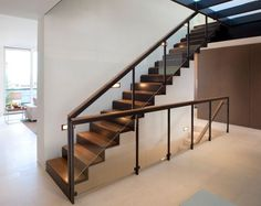the choice of the type of the staircase and modern staircase design. Latest modern stairs designs and staircase ideas for two story homes and living room with stair railing catalogue 2019 Wood Railings For Stairs, Modern Stair Railing, Stair Railing Design, Steel Stairs, Staircase Railings, Modern Stairs, Railing Ideas, Stair Handrail, Staircase Ideas