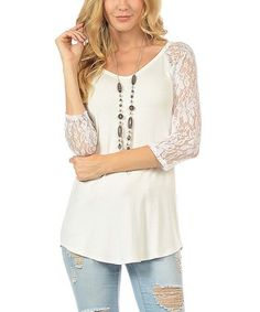 Cream & White Lace-Sleeve Scoop Neck Tunic