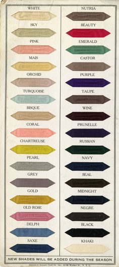 Show me gorgeous colors thoughtfully displayed and I'm done.. Langenieux & Sopp's Satin Color Card for Summer/Fall 1917.