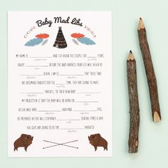 FREE Printable! A fun game to play at a baby shower, Baby Mad Libs is a free printable with a southwestern design from Love vs. Design. #free #printable
