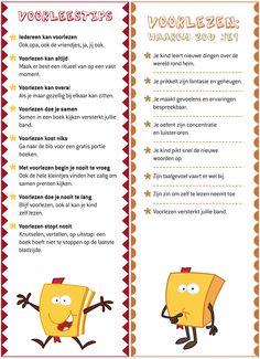 BLADWIJZERS: zes bladwijzers vol met tips over lezen en voorlezen. Mini Library, Teacher Organization, Primary School, Kids Education, Fun Learning, Spelling, Storytelling, Kids Playing, Language