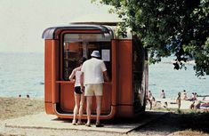 The Kiosk by industrial designer Sasa Mächtig used as tobacco and newspaper stand somewhere on the coast of Croatia (c. Courtesy Museum of Architecture & Design, Ljubljana. Home Design, Interior Design, Victorian Bath House, Ski Lift Tickets, Metropolis Magazine, Adaptive Design, Kiosk Design, Liverpool Street, Small Buildings