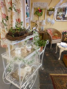 Vintage garden & home cart for in store display.