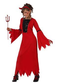 Disfraz de diablesa para niña: Este disfraz de diablesa para niña incluye un vestido y una diadema (medias, zapatos y tridente no incluidos). El vestido es de color rojo. Es elástico y largo. Tiene puntillas en los...