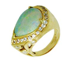 Opal Cocktail Ring by Jessica Surloff. 18K Yellow Gold, 10 carat Opal and White Sapphires