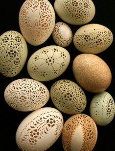 Unbelievable Hand-carved Victorian Lace Eggs - Wave Avenue - Not hand carved but, rather LASER cut.