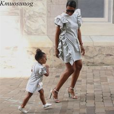 2019 Autumn Mom and Daughter Matching Dress Ruffles Striped Mini Dress Mother daughter dress family matching clothes Mom And Daughter Matching, Mother Daughter Outfits, Mommy And Me Outfits, Mode Outfits, Fashion Outfits, Make Your Own Clothes, Glam Dresses, Matching Outfits, Matching Clothes