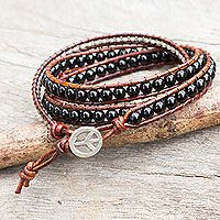 Onyx wrap bracelet, 'Hill Tribe Boheme'