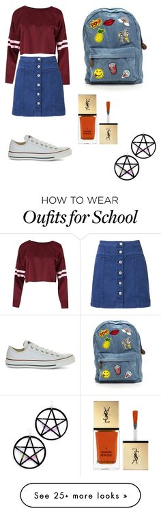 """school"" by yoosubin on Polyvore featuring Witchery, Converse, Yves Saint Laurent and Marina Fini"