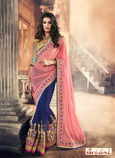 Buy online blue and pink colored net designer partywear saree. This beautiful designer partywear saree is prettified with embroidered, lace and crystal. Shop online now! Lehenga Saree, Anarkali, Red Saree, Georgette Sarees, Indian Dresses, Indian Outfits, Indian Clothes, Peach Saree, Indian Bridal Sarees