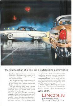 1955 Automobile Advertisement - 1955 Lincoln. $10.00, via Etsy.