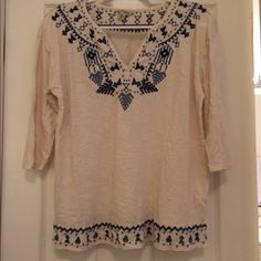 Lucky Brand Top Very cute top only worn once or twice, almost like new condition.  Really pretty embroidery detail. Lucky Brand Tops Blouses
