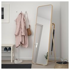 IKORNNES Floor mirror IKEA Tired in the mornings? You can save time by hanging tomorrow's outfit behind the mirror. Ikea Lisabo, Bedroom Inspo, Bedroom Decor, Bedroom Mirrors, Bedroom Ideas, Big Mirror In Bedroom, Ikea Bedroom Design, Ikea Room Ideas, Rose Bedroom
