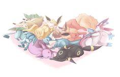 Sleeping beauties ...  leafeon, jolteon, eevee, flareon, glaceon, vaporeon, sylveon, espeon, umbreon, pokemon