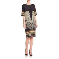 Etro Paisley-Print Silk Tunic Dress (3.130 BRL) ❤ liked on Polyvore featuring dresses, apparel & accessories, half sleeve dress, paisley dress, etro dresses, geometric dress and geometric print dress